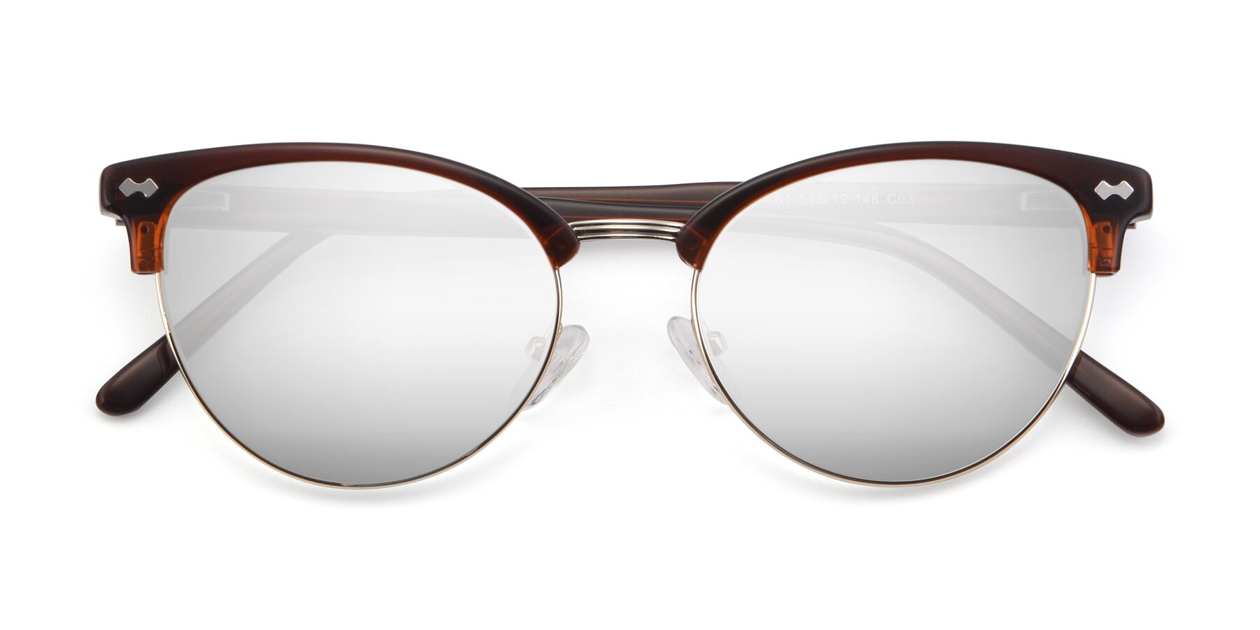 Folded Front of 17461 in Tortoise-Black with Silver Mirrored Lenses