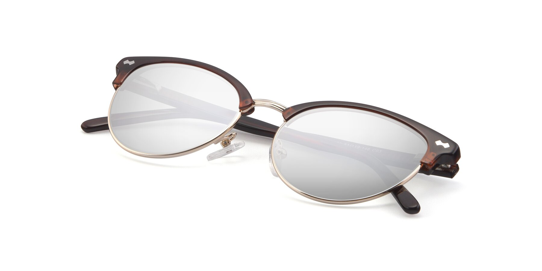 View of 17461 in Tortoise-Black with Silver Mirrored Lenses