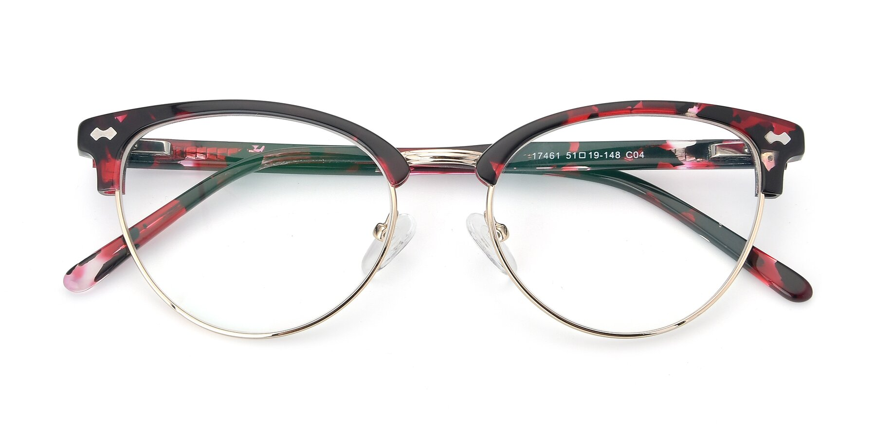 Folded Front of 17461 in Floral-Gold with Clear Eyeglass Lenses