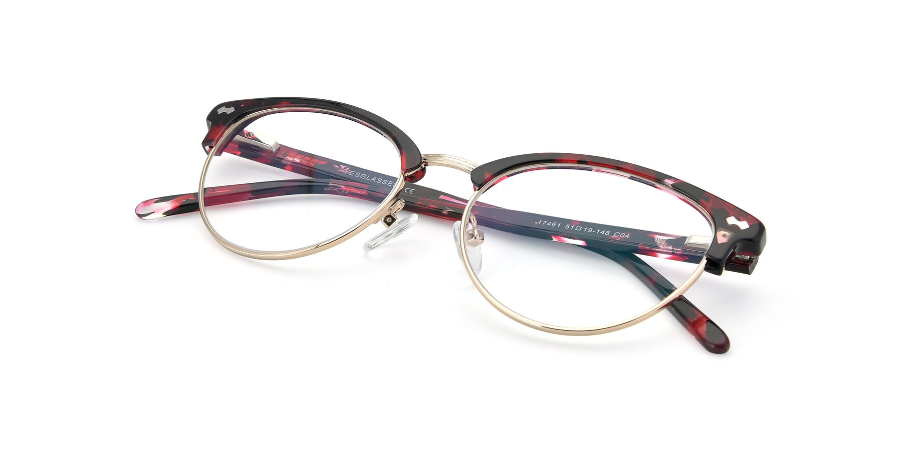 View of 17461 in Floral-Gold with Clear Eyeglass Lenses