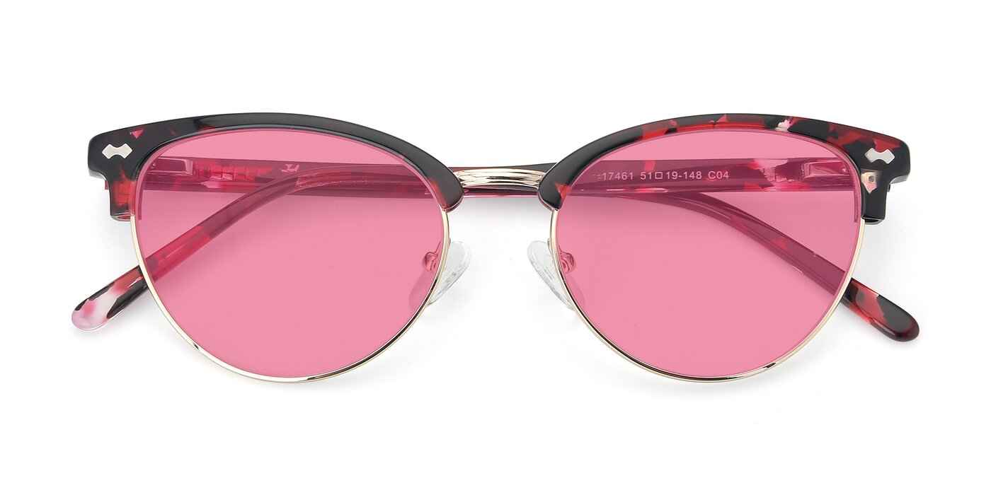 17461 - Floral / Gold Tinted Sunglasses