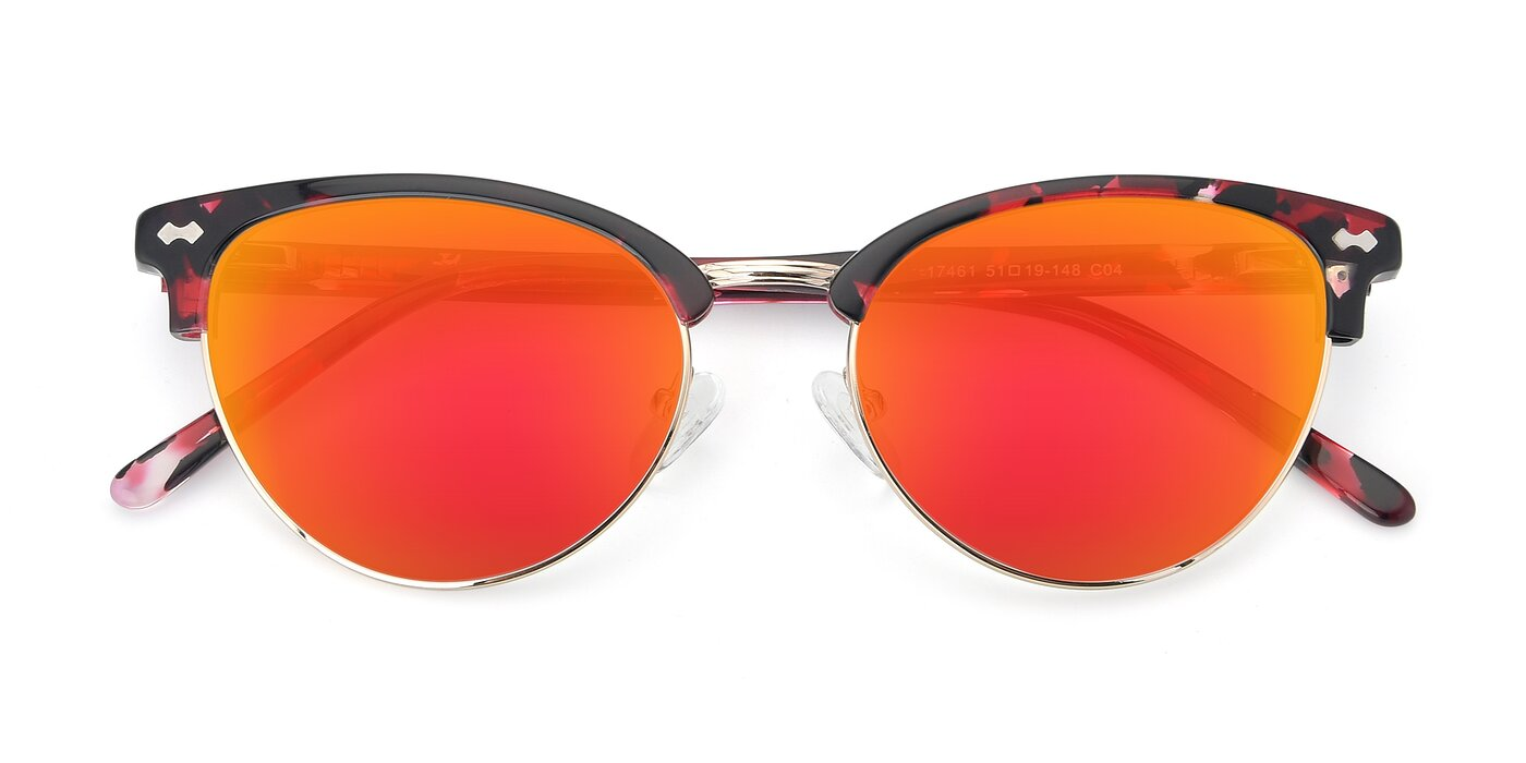 17461 - Floral / Gold Flash Mirrored Sunglasses