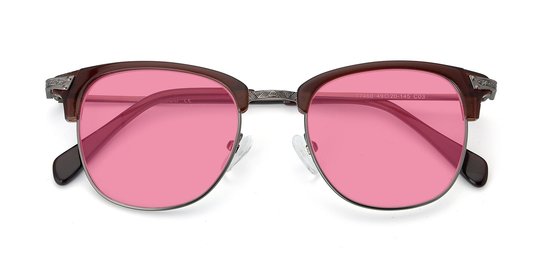 Folded Front of 17460 in Wine-Gun with Pink Tinted Lenses