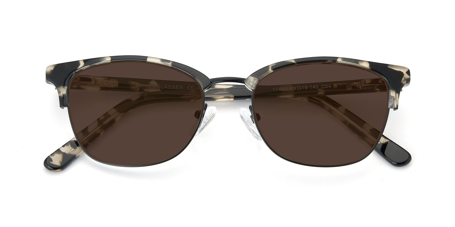 Folded Front of 17463 in Black-Tortoise with Brown Tinted Lenses