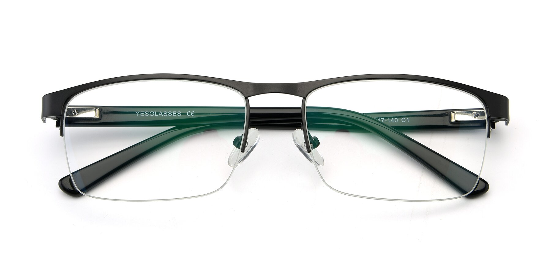 Folded Front of 9212 in Gunmetal with Clear Eyeglass Lenses