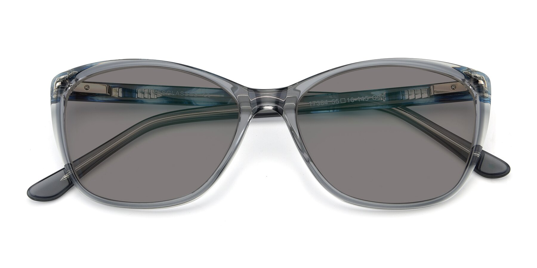 Folded Front of 17384 in Transparent Grey with Medium Gray Tinted Lenses