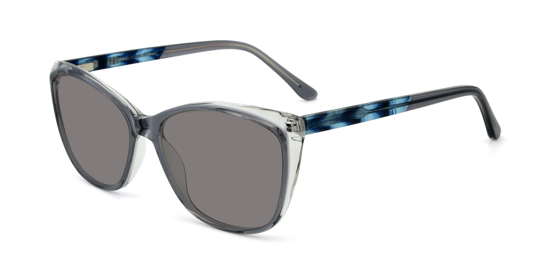 Angle of 17384 in Transparent Grey with Medium Gray Tinted Lenses