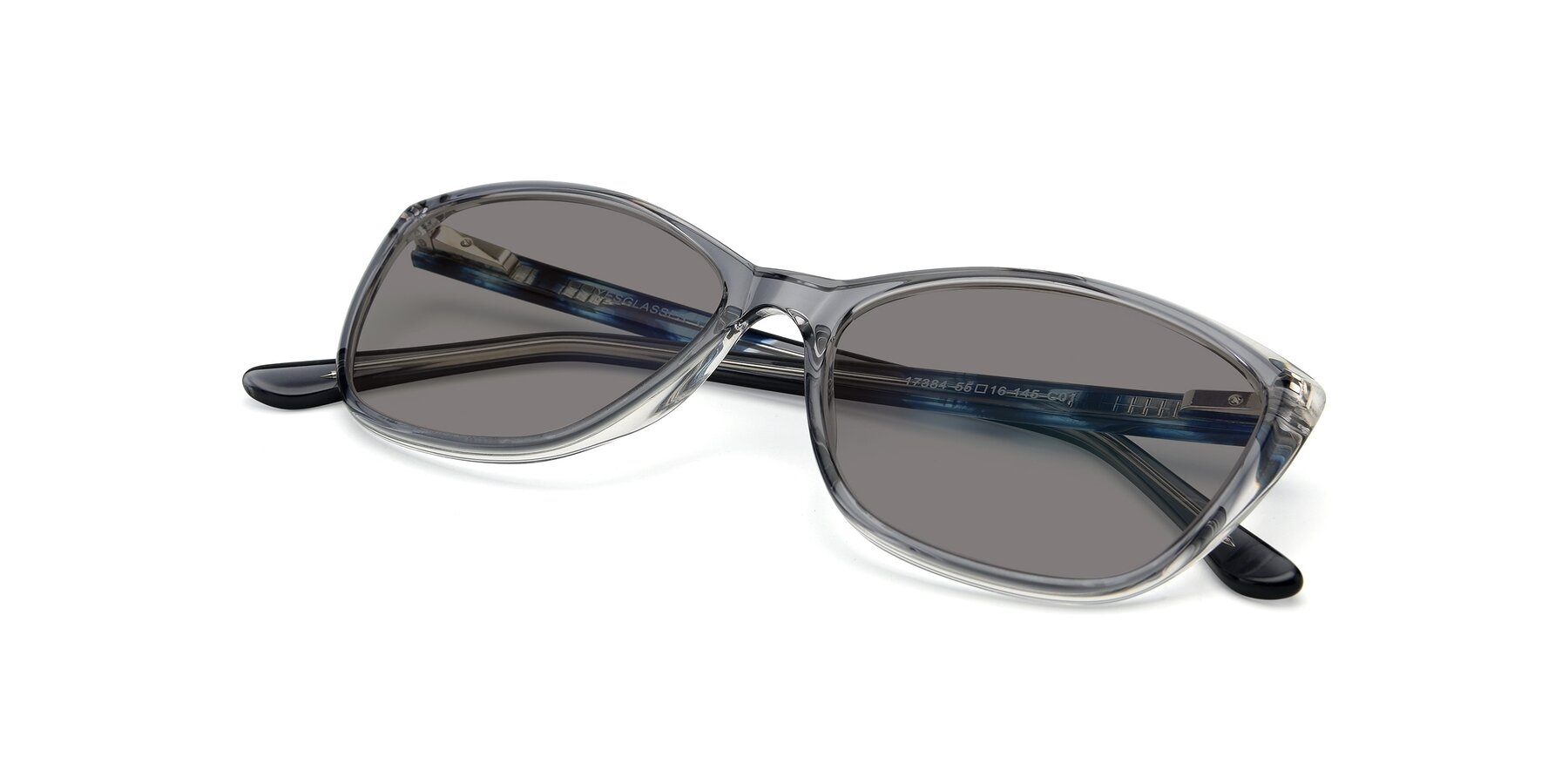 View of 17384 in Transparent Grey with Medium Gray Tinted Lenses