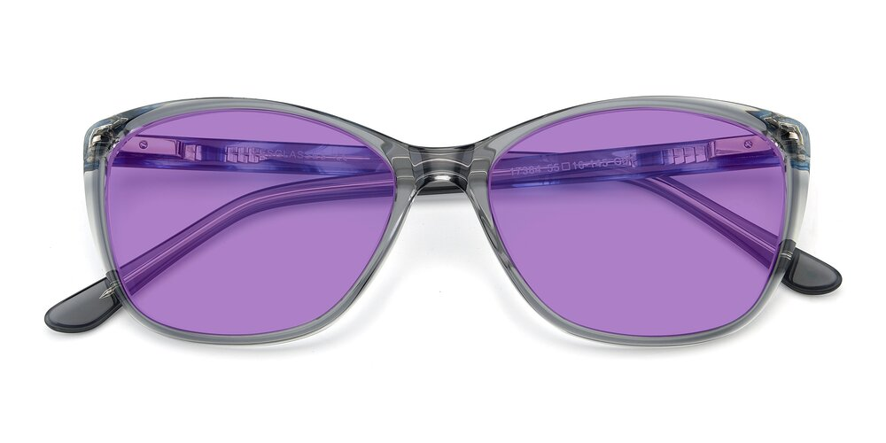 Transparent Grey Geek-Chic Acetate Butterfly Tinted Sunglasses With Medium Purple Sunwear Lenses