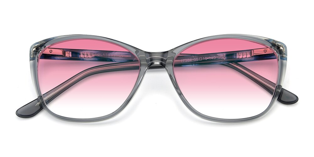 Transparent Grey Geek-Chic Acetate Butterfly Gradient Sunglasses With Pink Sunwear Lenses