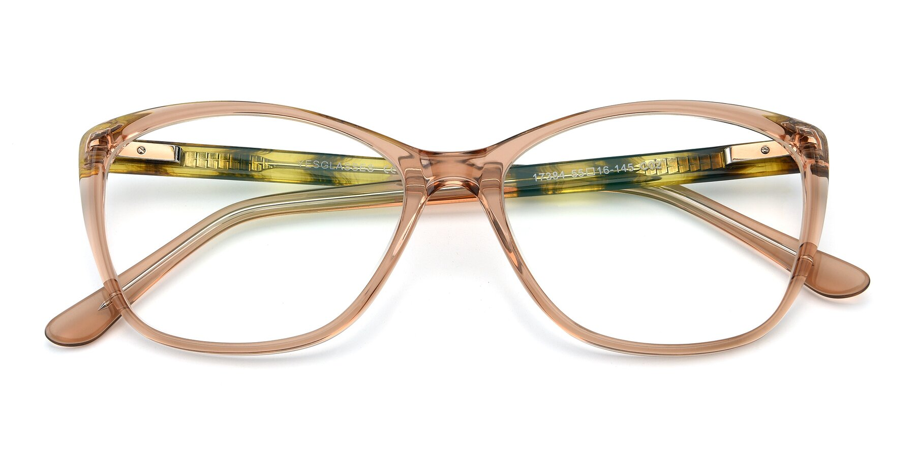 Folded Front of 17384 in Transparent Caramel with Clear Eyeglass Lenses