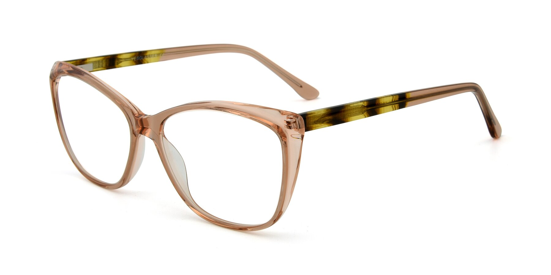 Angle of 17384 in Transparent Caramel with Clear Eyeglass Lenses
