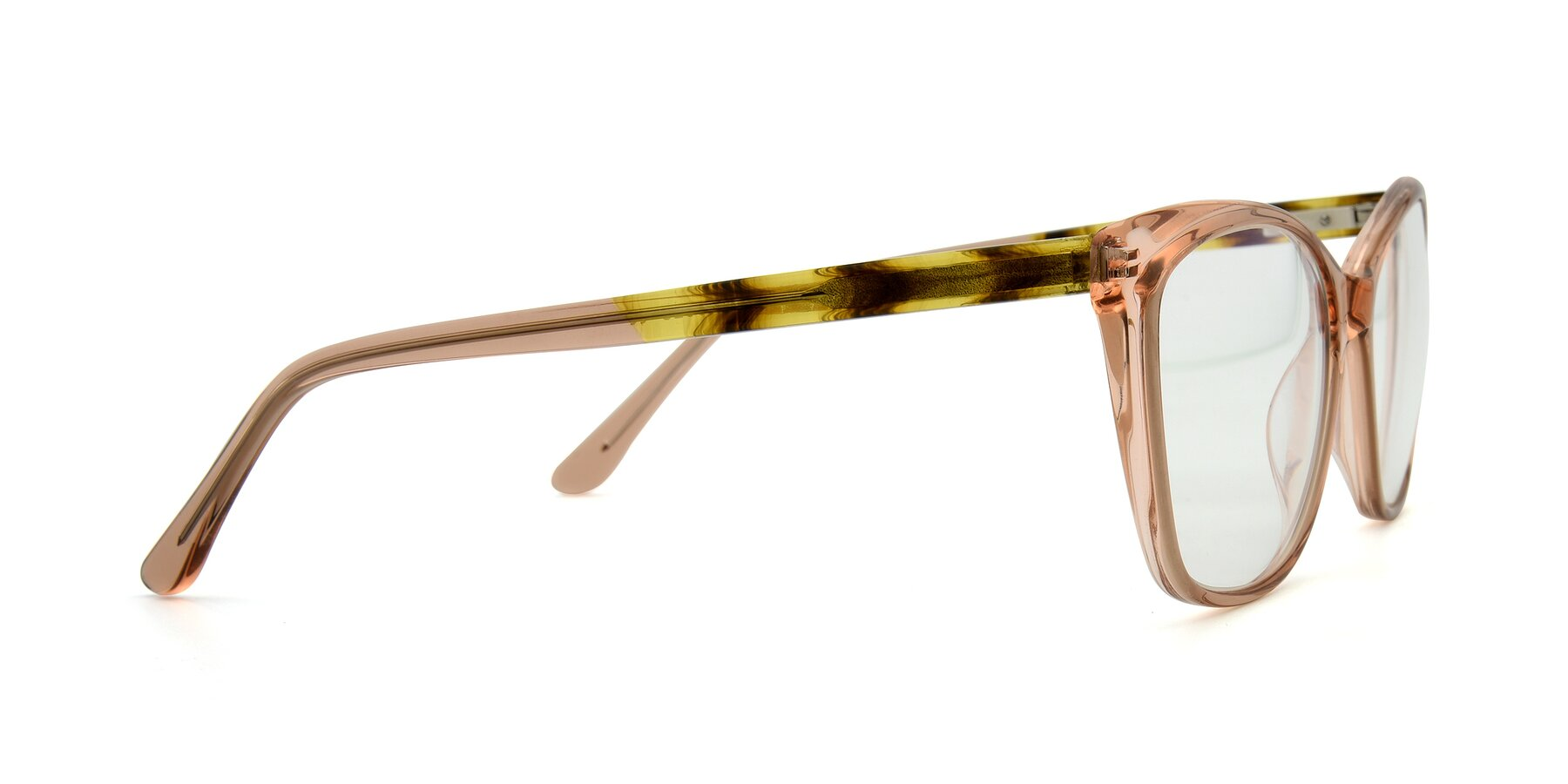 Side of 17384 in Transparent Caramel with Clear Eyeglass Lenses