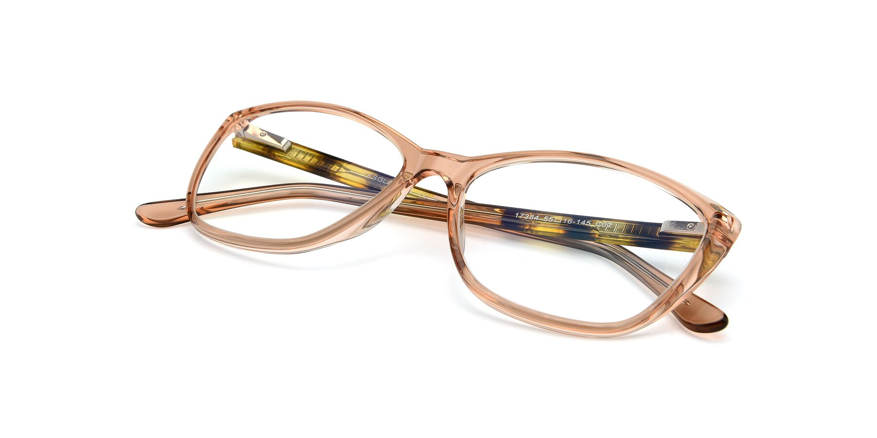 View of 17384 in Transparent Caramel with Clear Eyeglass Lenses