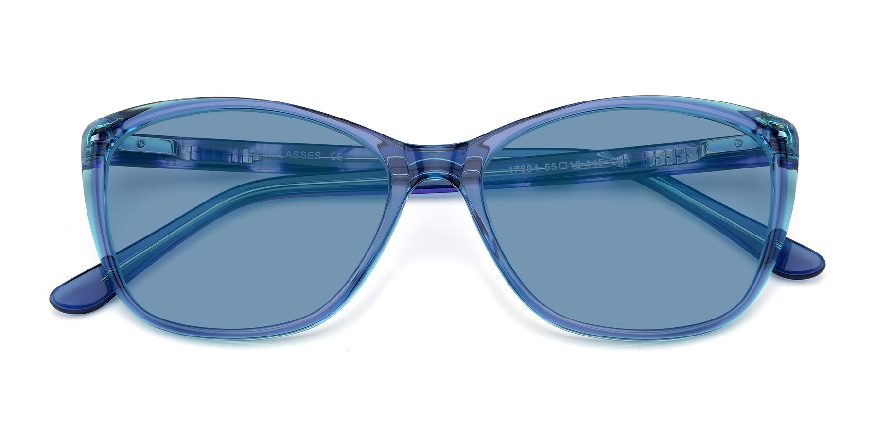 Folded Front of 17384 in Transparent Blue with Medium Blue Tinted Lenses
