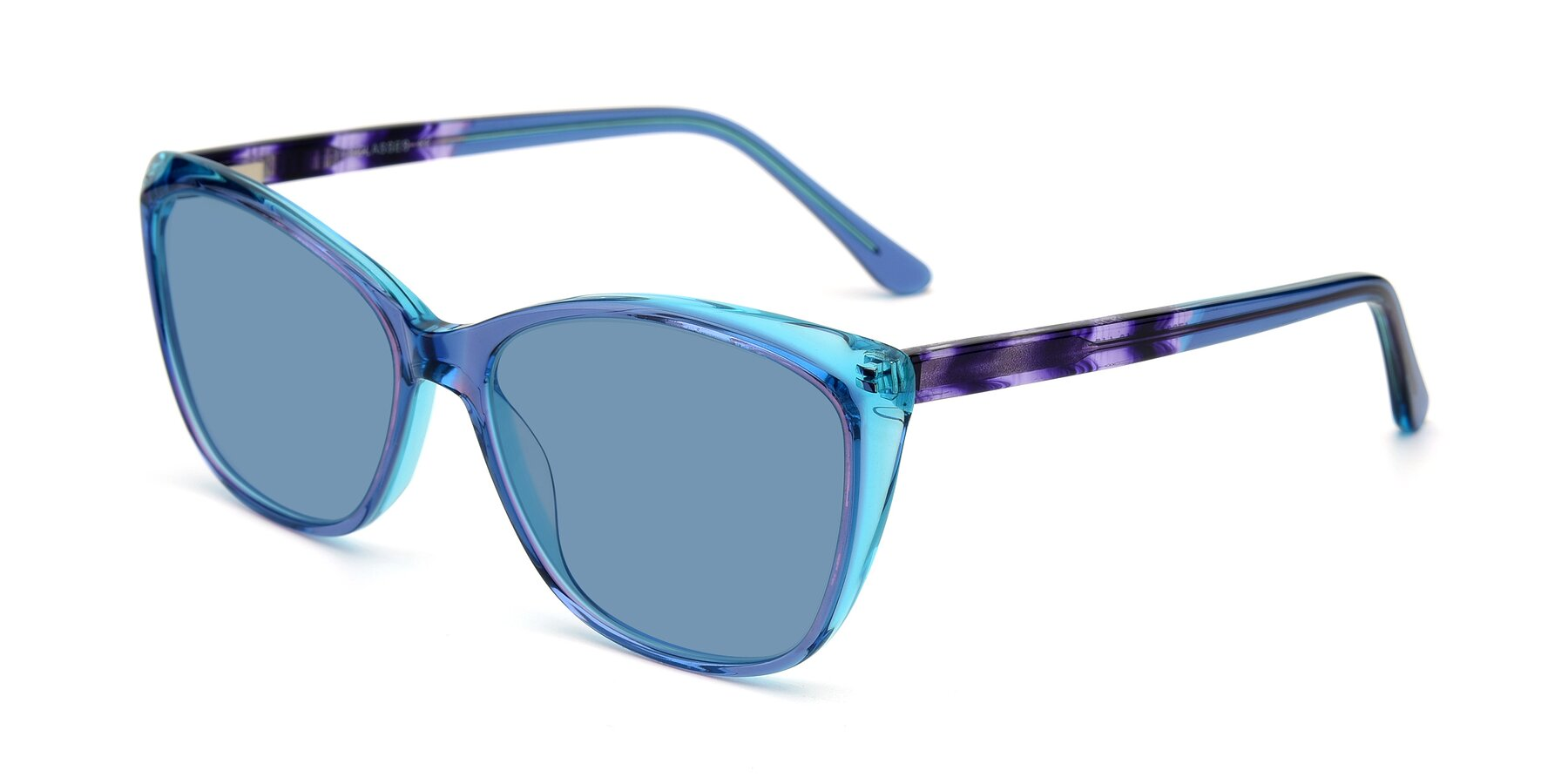 Angle of 17384 in Transparent Blue with Medium Blue Tinted Lenses