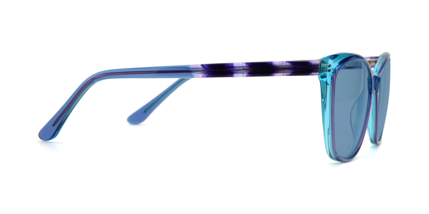 Side of 17384 in Transparent Blue with Medium Blue Tinted Lenses