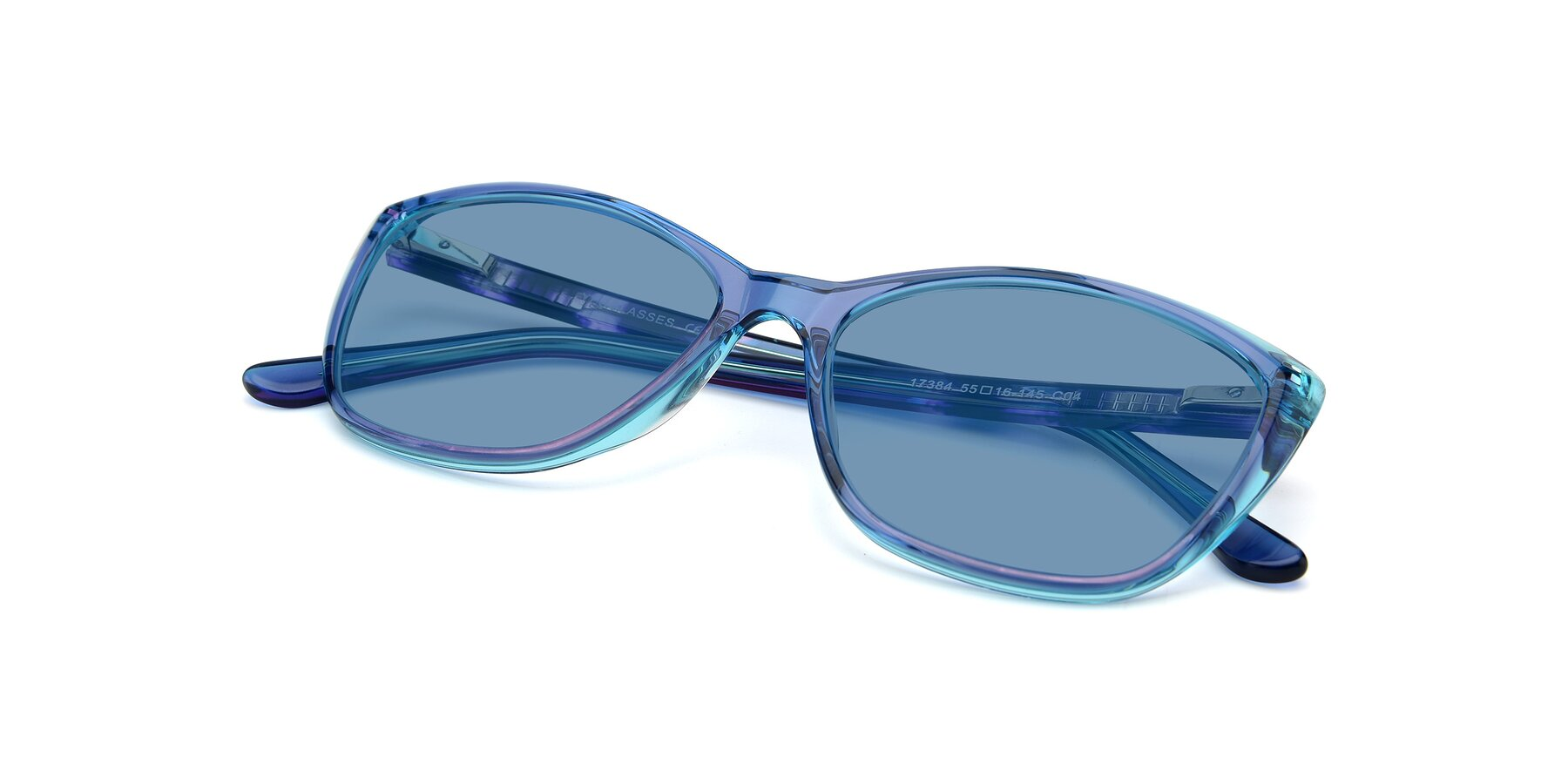 View of 17384 in Transparent Blue with Medium Blue Tinted Lenses