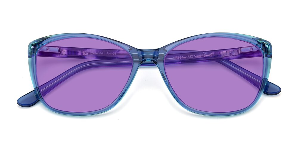 Transparent Blue Geek-Chic Acetate Butterfly Tinted Sunglasses With Medium Purple Sunwear Lenses