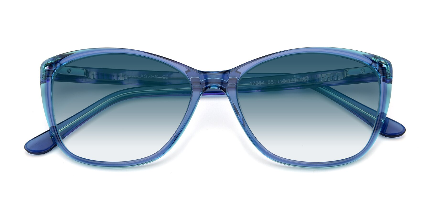 Folded Front of 17384 in Transparent Blue with Blue Gradient Lenses