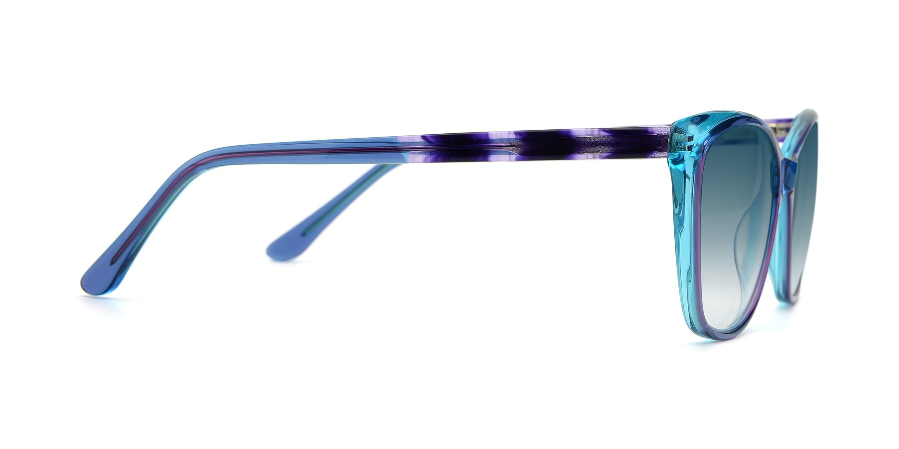 Side of 17384 in Transparent Blue with Blue Gradient Lenses
