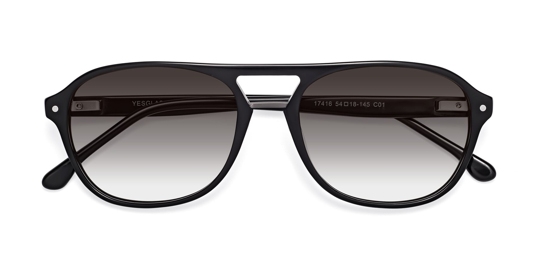 Folded Front of 17416 in Black with Gray Gradient Lenses