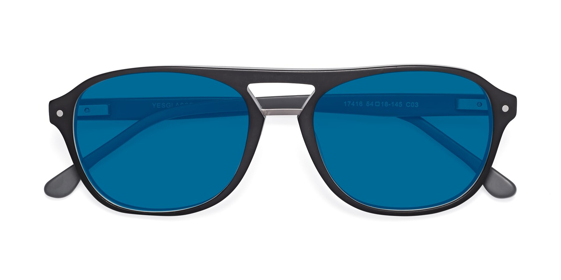 Folded Front of 17416 in Matt Black with Blue Tinted Lenses