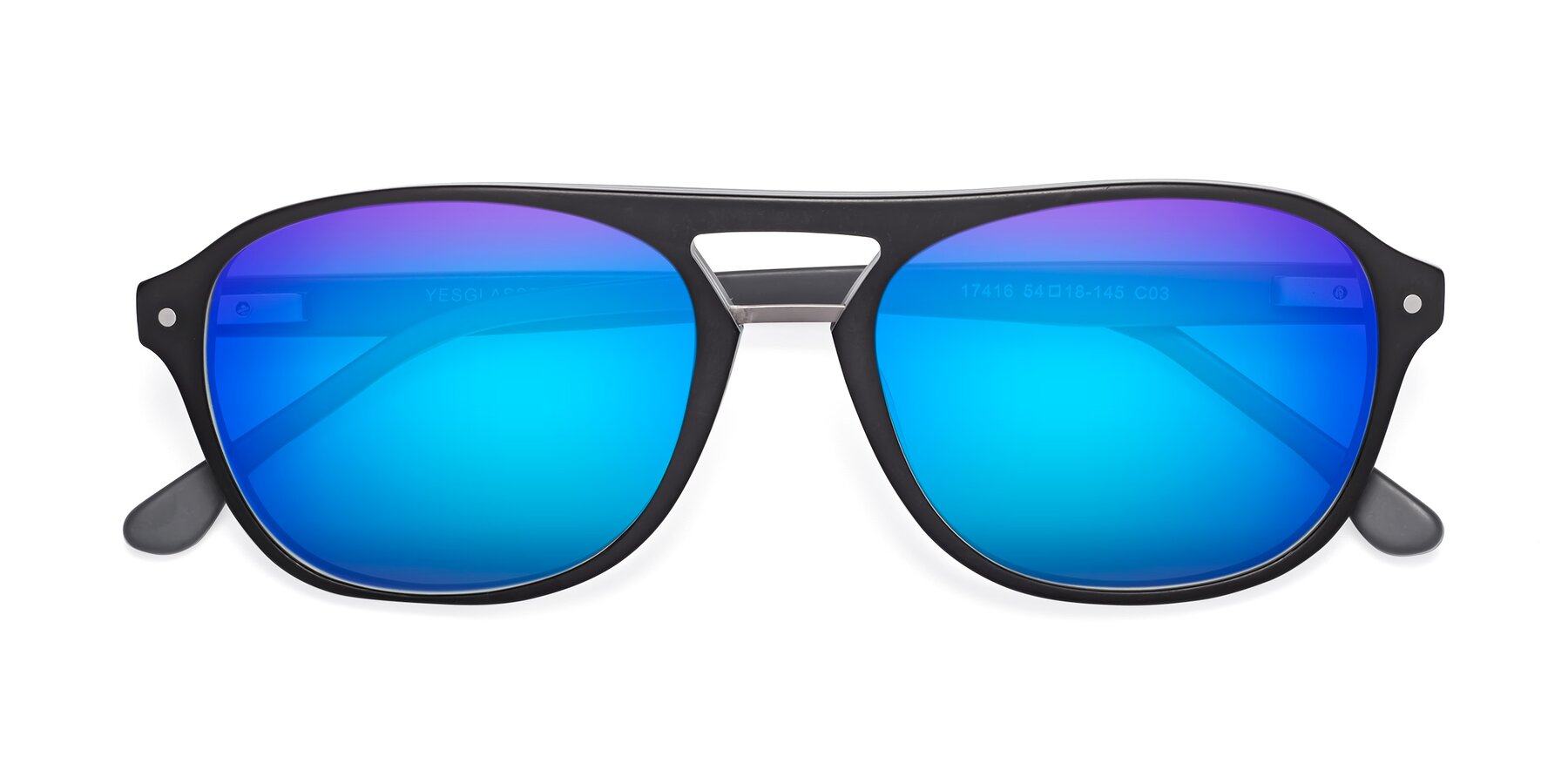 Folded Front of 17416 in Matt Black with Blue Mirrored Lenses