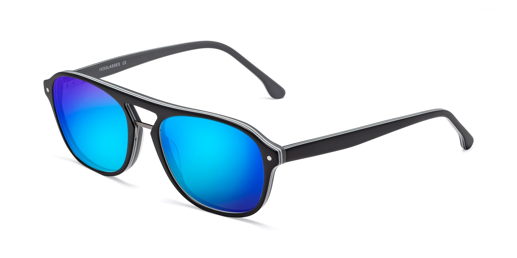 Angle of 17416 in Matt Black with Blue Mirrored Lenses