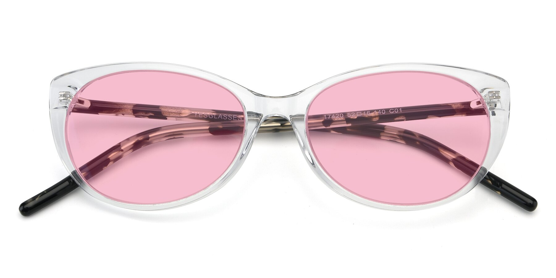 Folded Front of 17420 in Clear with Medium Pink Tinted Lenses