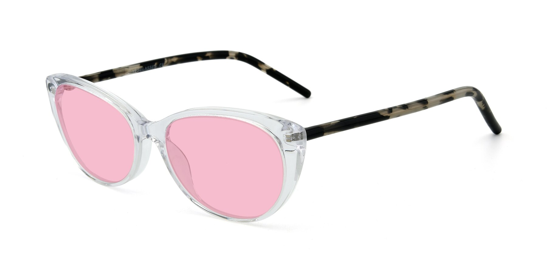 Angle of 17420 in Clear with Medium Pink Tinted Lenses
