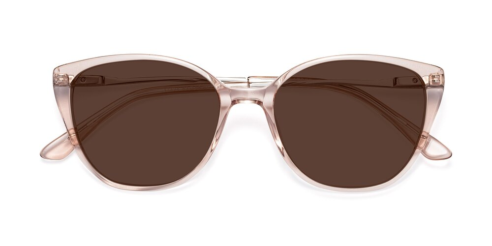 Transparent Pink Oversized Acetate Cat-Eye Tinted Sunglasses With Brown Sunwear Lenses