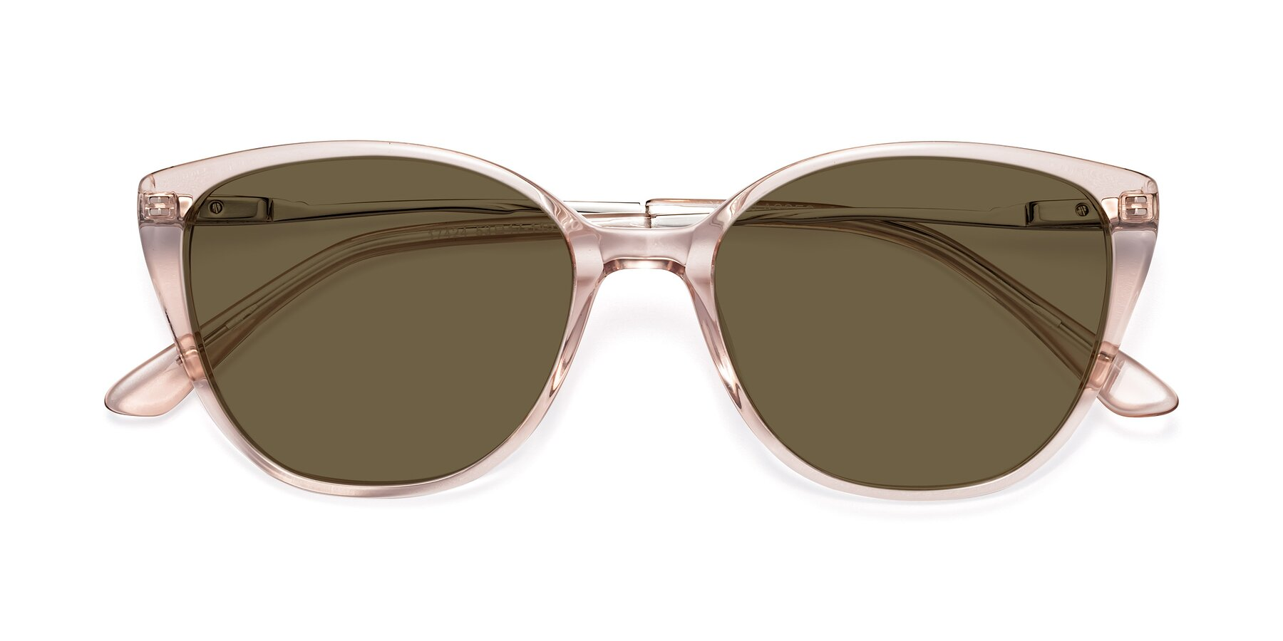 Folded Front of 17424 in Transparent Pink with Brown Polarized Lenses