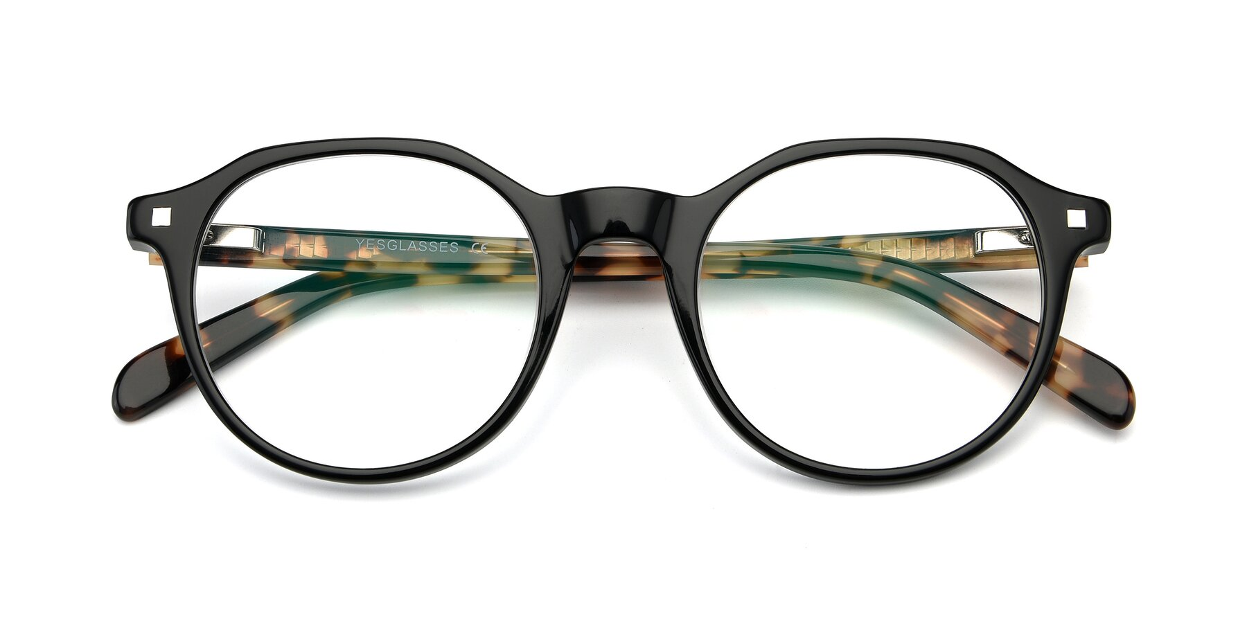 Folded Front of 17425 in Black with Clear Eyeglass Lenses