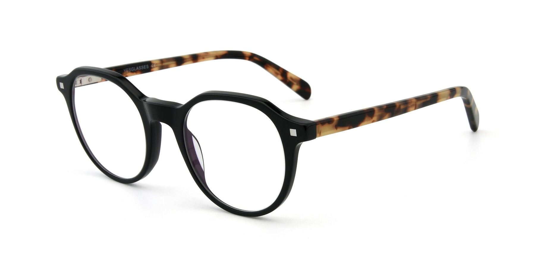 Angle of 17425 in Black with Clear Eyeglass Lenses