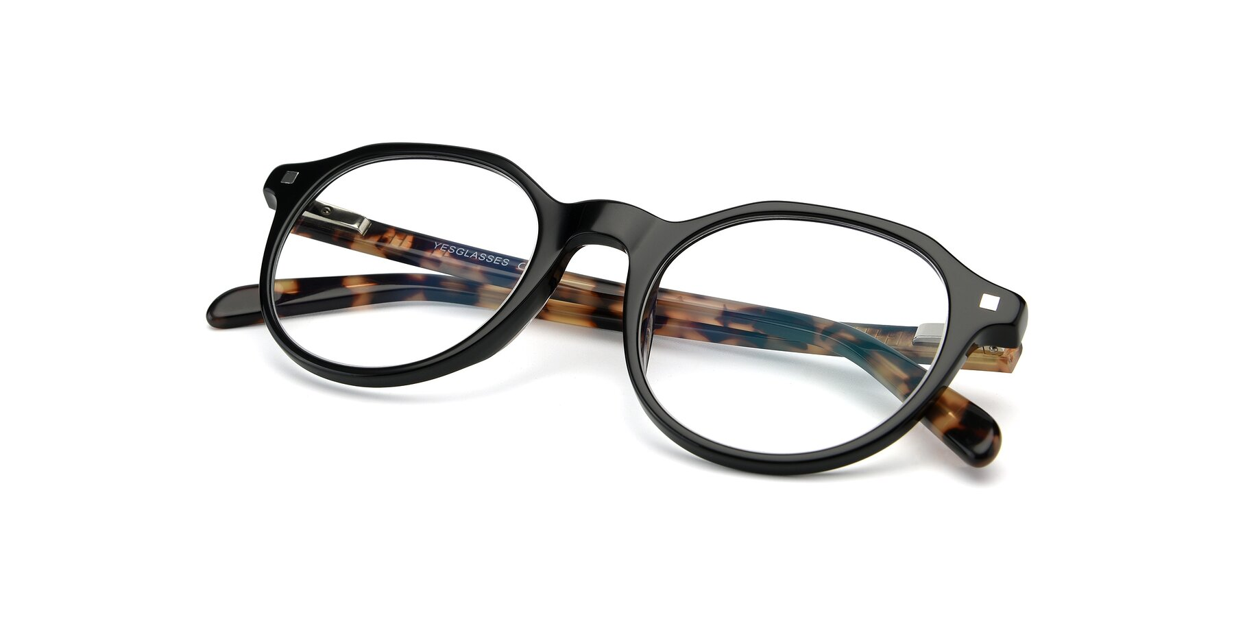 View of 17425 in Black with Clear Eyeglass Lenses