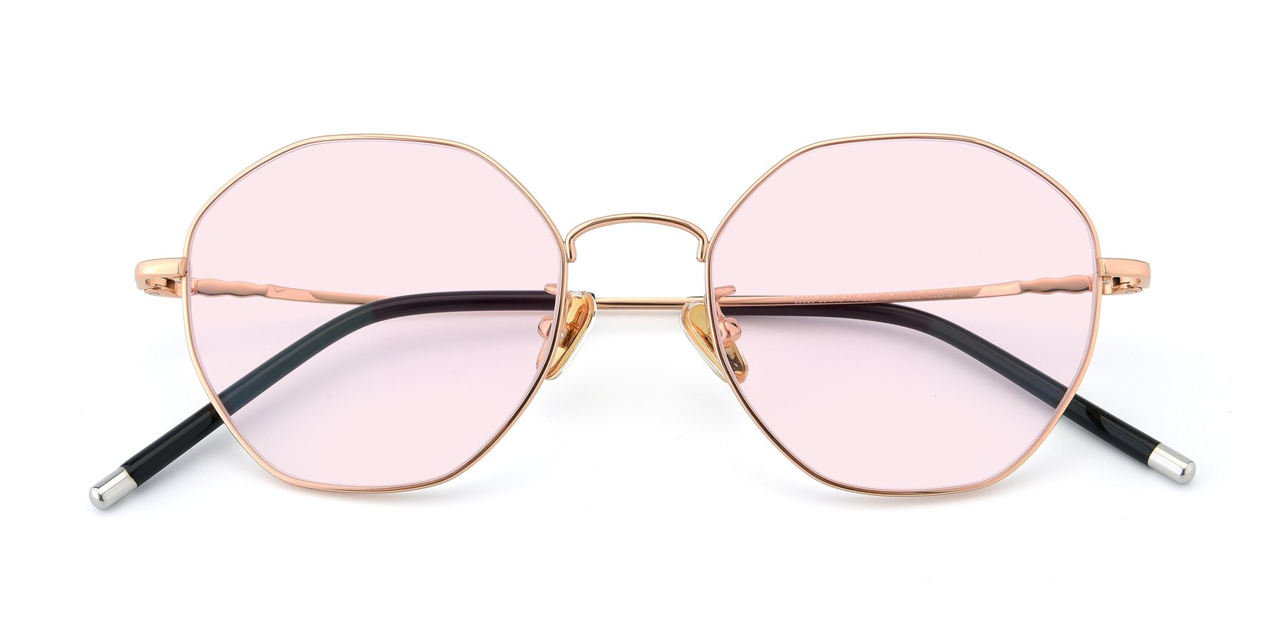 Folded Front of 90059 in Gold with Light Pink Tinted Lenses