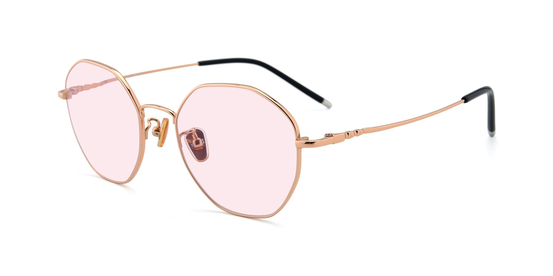Angle of 90059 in Gold with Light Pink Tinted Lenses