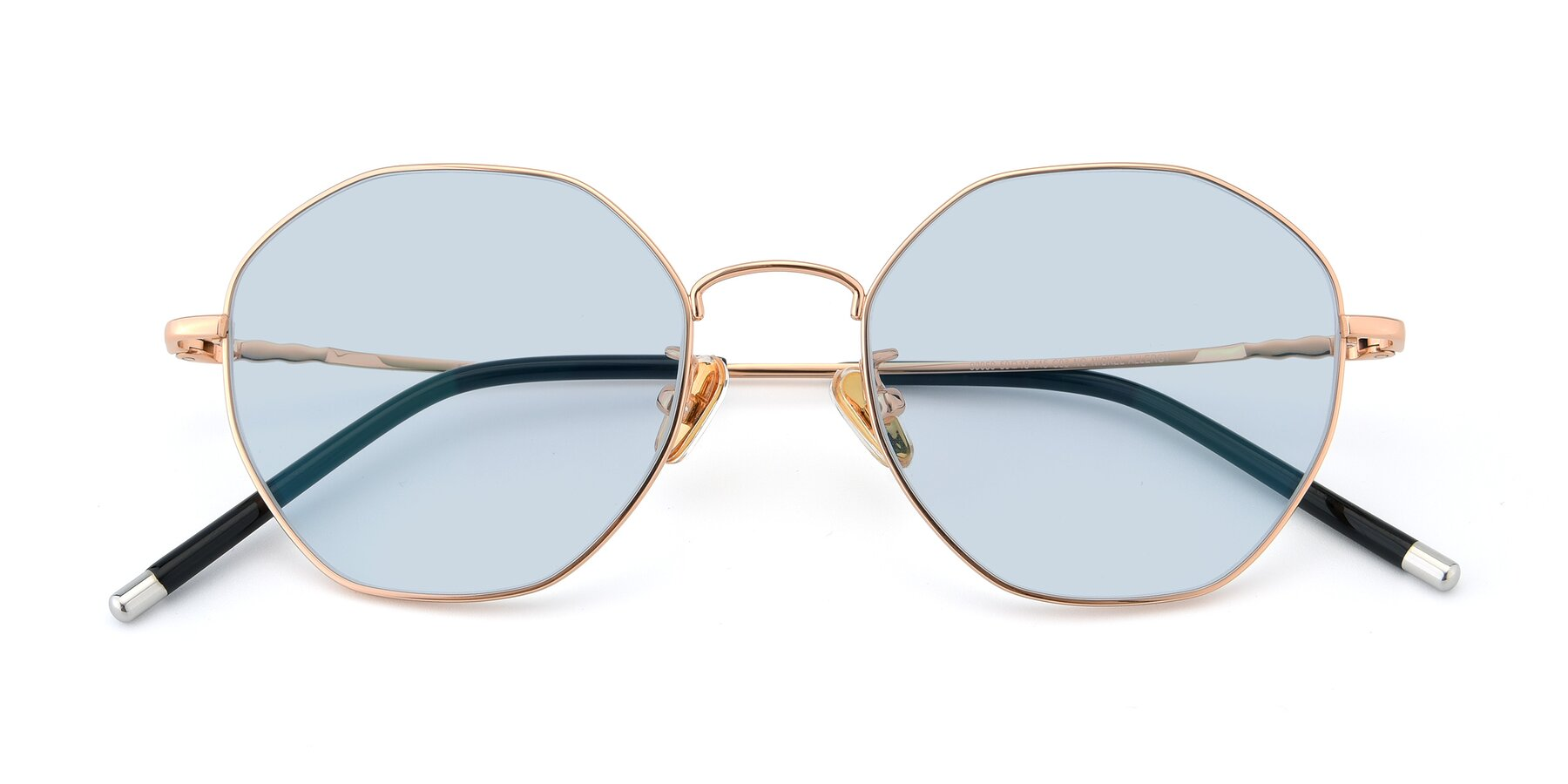 Folded Front of 90059 in Gold with Light Blue Tinted Lenses