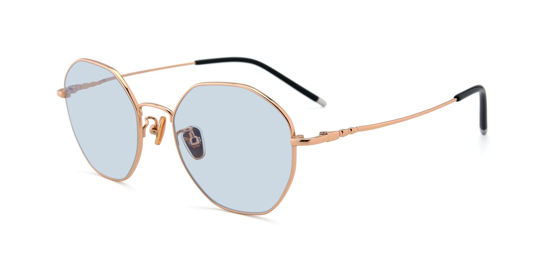 Angle of 90059 in Gold with Light Blue Tinted Lenses