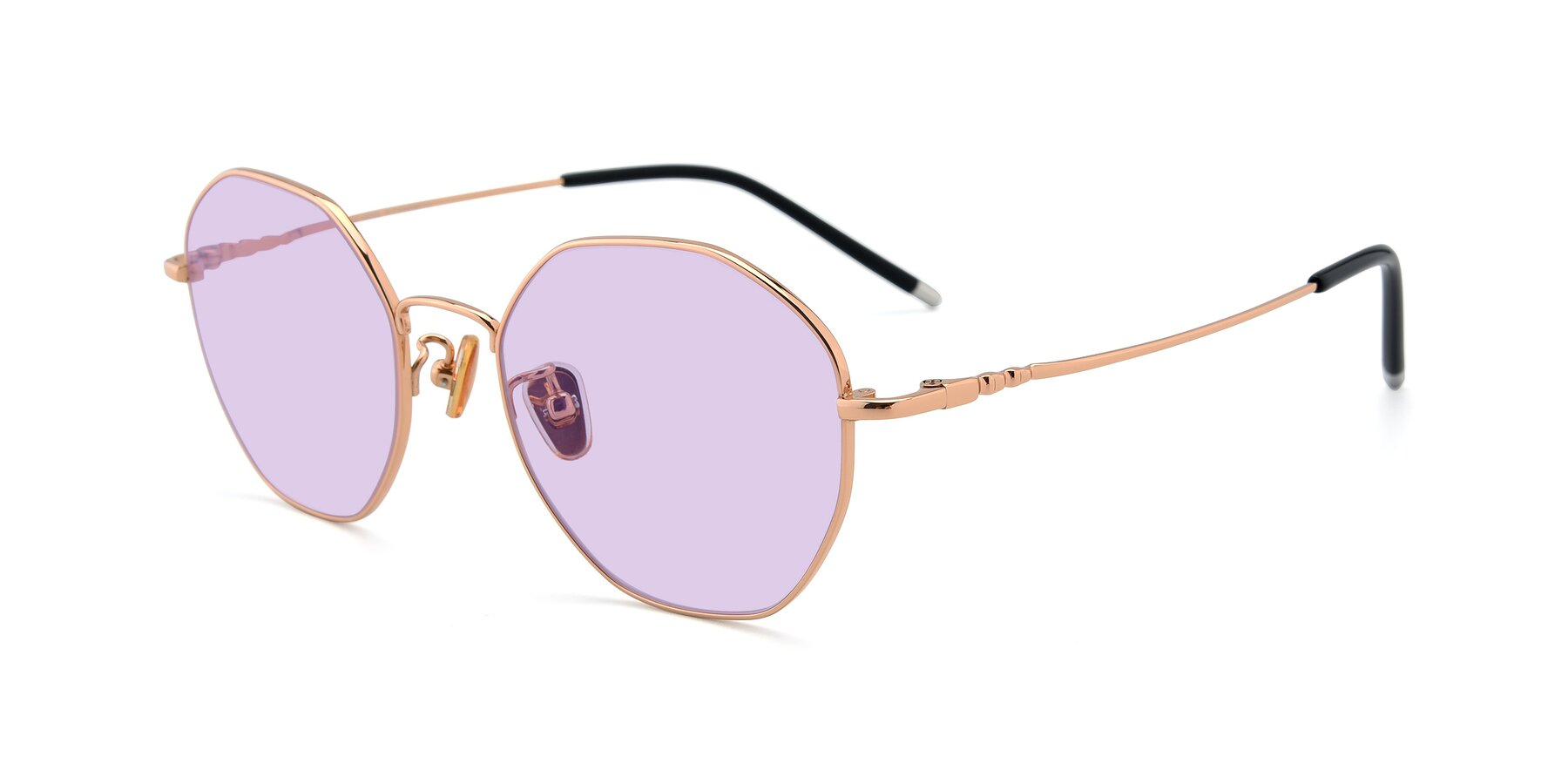 Angle of 90059 in Gold with Light Purple Tinted Lenses