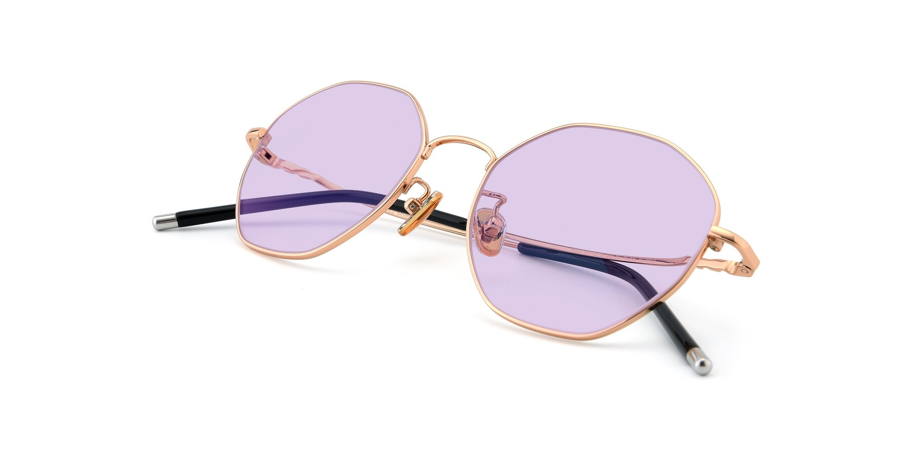 View of 90059 in Gold with Light Purple Tinted Lenses