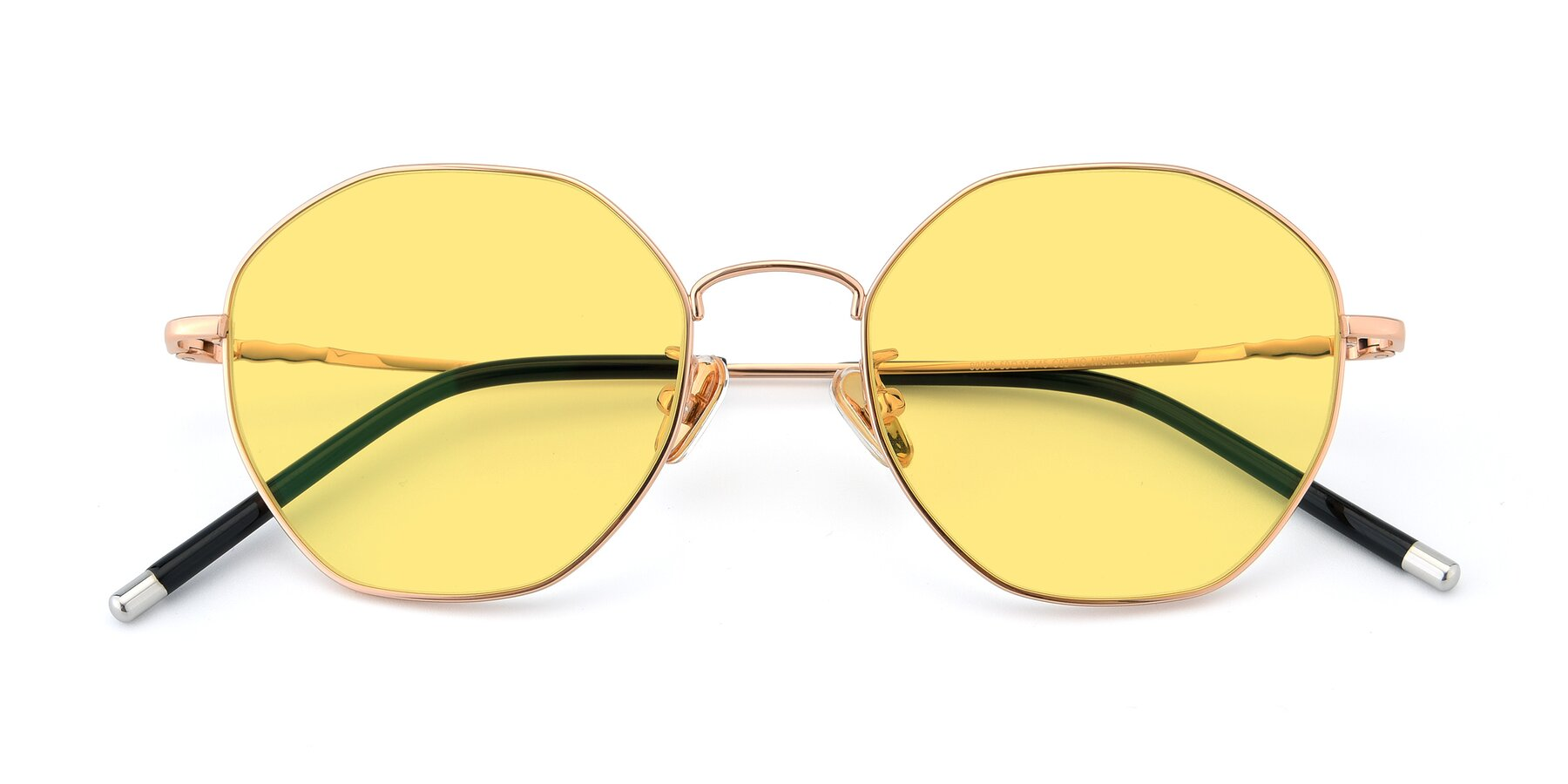 Folded Front of 90059 in Gold with Medium Yellow Tinted Lenses
