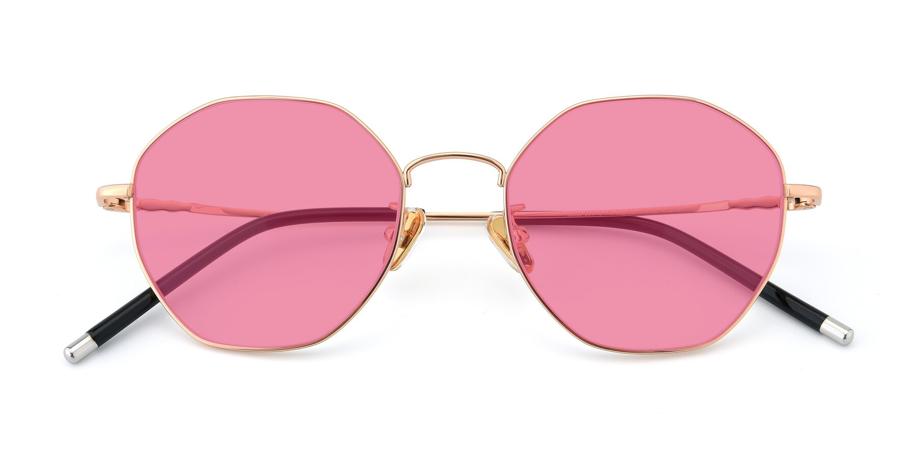 Folded Front of 90059 in Gold with Pink Tinted Lenses