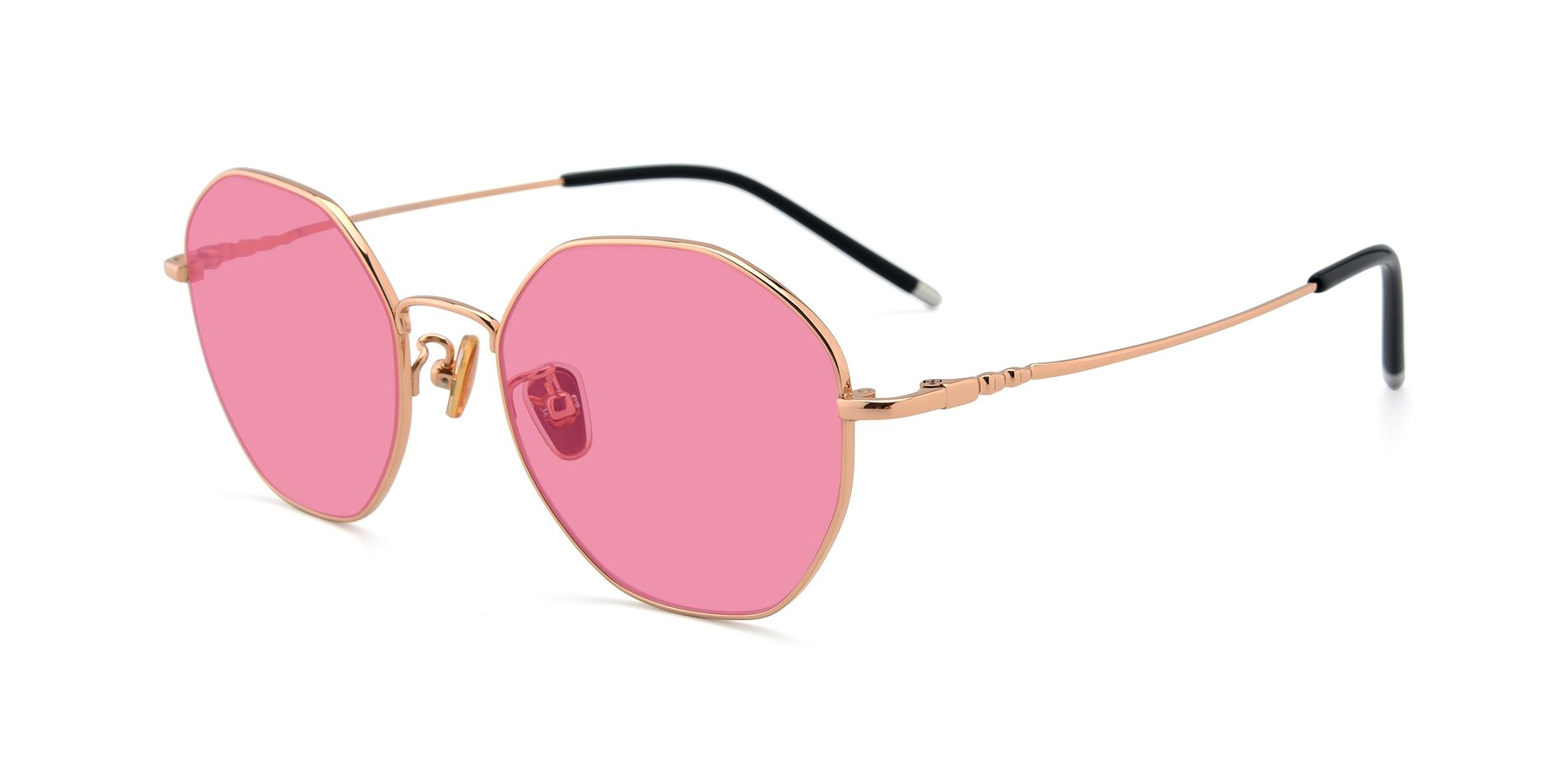 Angle of 90059 in Gold with Pink Tinted Lenses