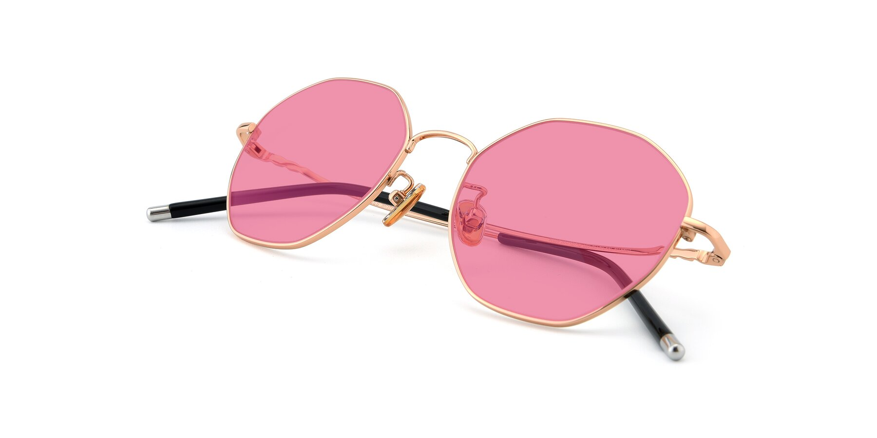 View of 90059 in Gold with Pink Tinted Lenses