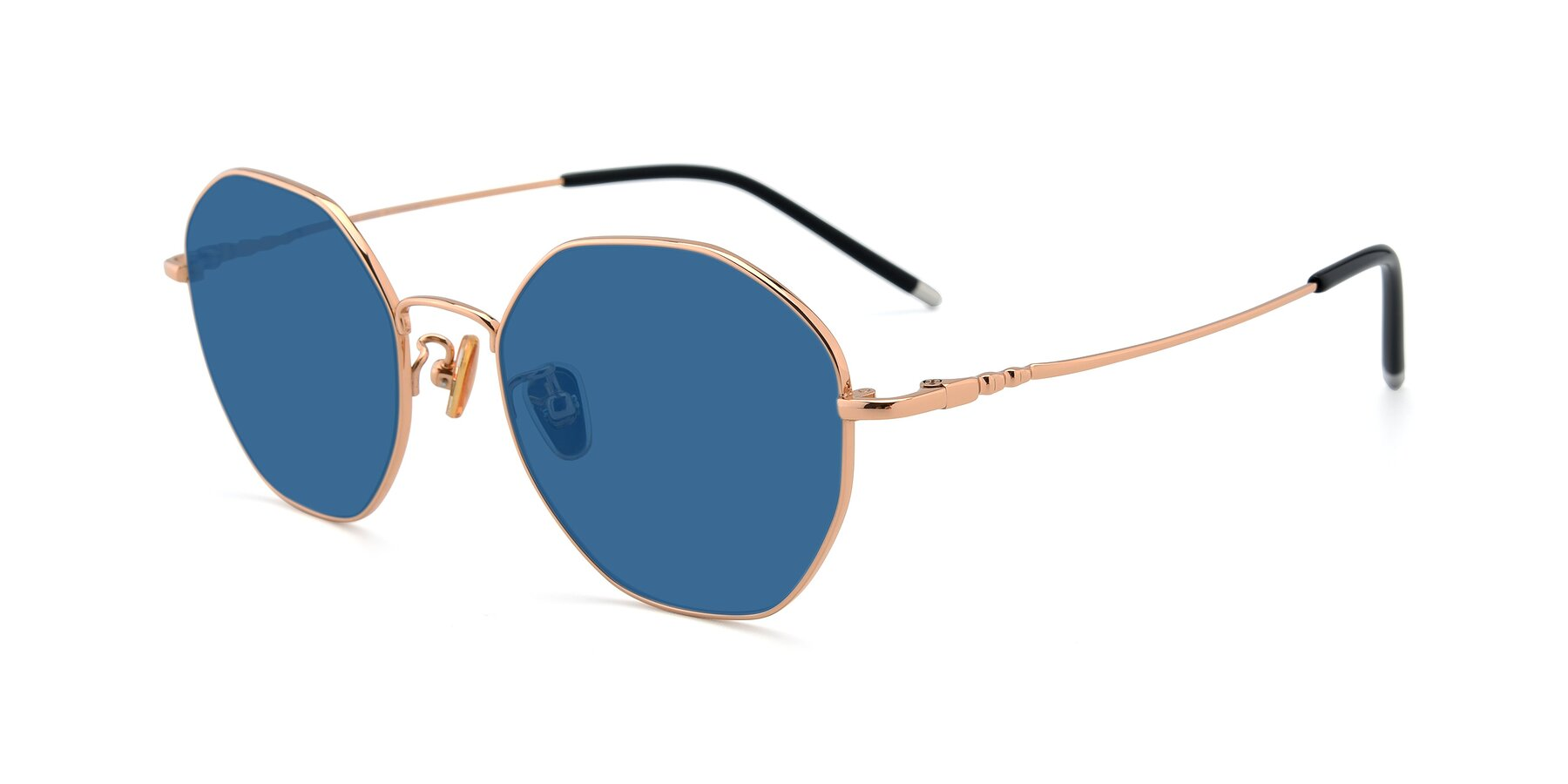 Angle of 90059 in Gold with Blue Tinted Lenses