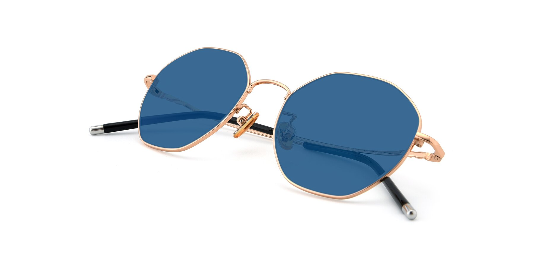 View of 90059 in Gold with Blue Tinted Lenses