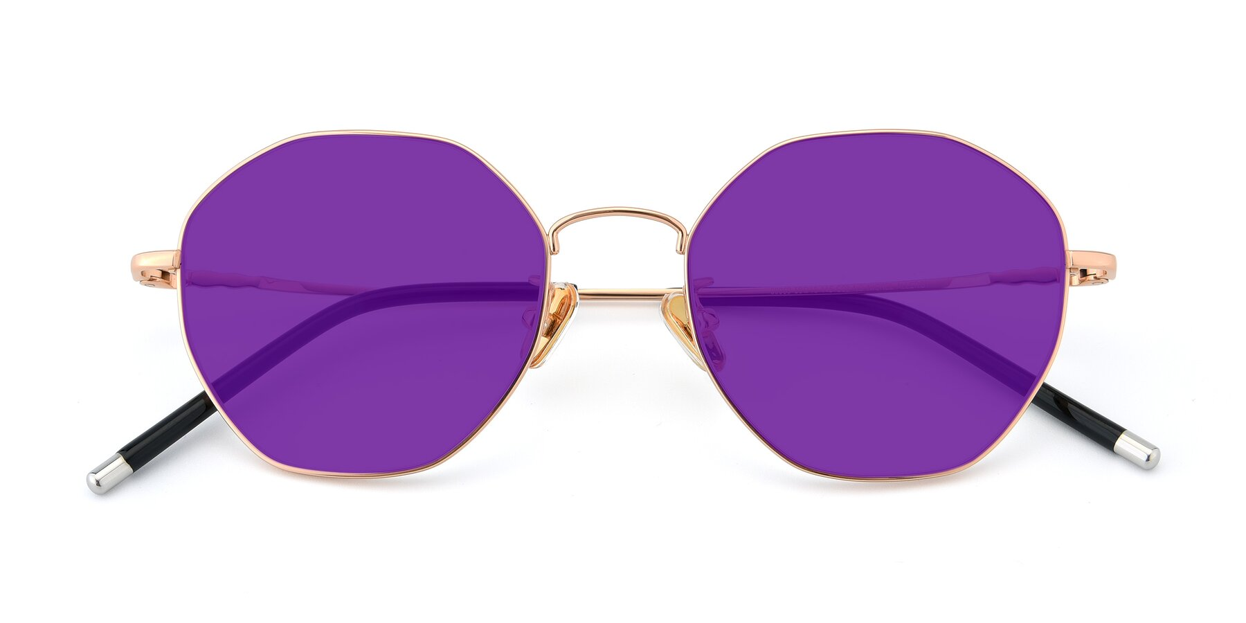 Folded Front of 90059 in Gold with Purple Tinted Lenses