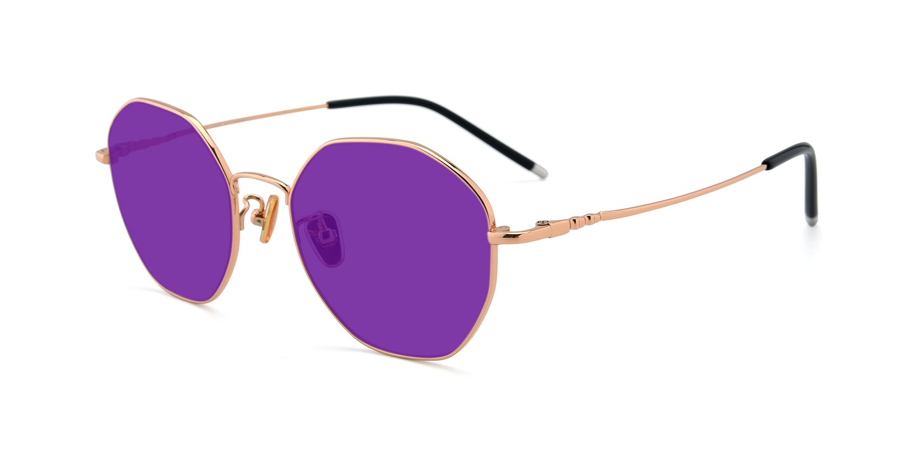 Angle of 90059 in Gold with Purple Tinted Lenses